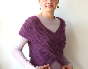 Hand knitted vest, braided sweater bolero, cable cross shrug, violet hand knit vest, avant garde clothing, wrap, cowl infinity scarf