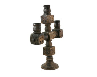 1860s Mexican Candelabra Candlestick, Carved Wood Old California