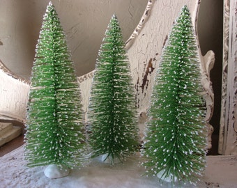 """Large Bottle brush tree 8"""" Glittered large green trees village crafts supplies vintage style table decor Cottage Chic decor"""