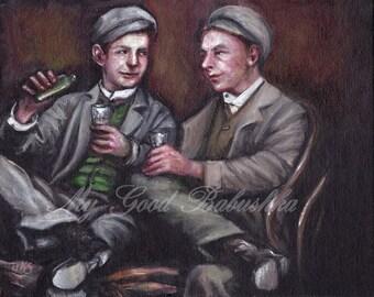The Drinking Companions, Original Painting, Men, Friendship, 1920s, 1930s, Friendship, Sharing a Drink, Flask, Conversation, Portrait