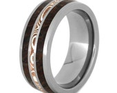 Dinosaur Bone Wedding Band With Copper And Silver Mokume, Mens Titanium Wedding Band, Wedding Band for Her
