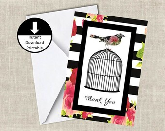 Instant Download Bird on Cage Thank You Note Card DIY Printable