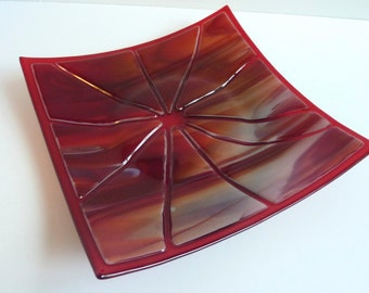 Fused Glass Shatter Art Plate in Red and White by BPRDesigns