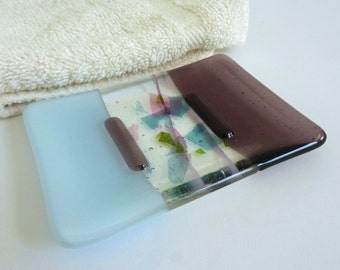 Chalk Blue and Light Violet Fused Glass Soap Dish