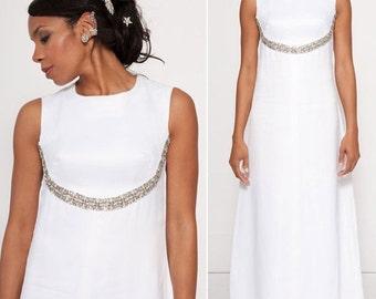 Constance satin rhinestone pearl wedding gown |1960s wedding dress | 60s bridal