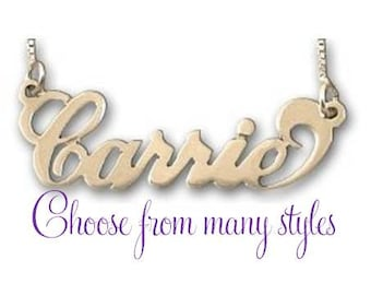 Gold Carrie Name Necklace - choose from many styles
