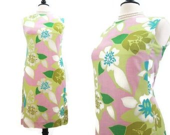 Vintage 60s Dress MOD Miami Colors Tropical Floral Shift Dress M