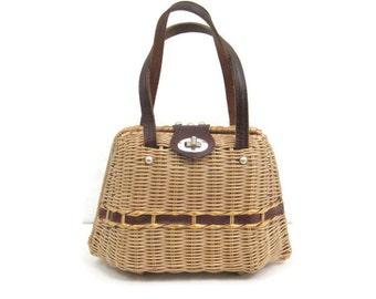 Vintage 50s 60s Wicker Basket Handbag Purse