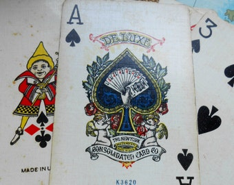 Vintage Playing Cards Deluxe No 142 The New York Consolidated Card Company c 1921 - delft boy and girl design - incredible vintage piece
