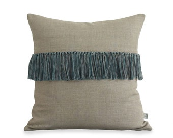 Teal Fringe Tassel Cushion Cover in Natural Linen - Hand Knotted Accent Pillow by JillianReneDecor - Modern Home Decor - Boho Chic