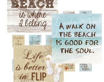 Seaside ~ FLIP FLOP Beach Girl - Life is better in flip flops (2 x 2 inch) Bottlecap Images Digital Collage Sheet  printable