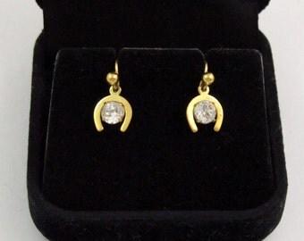 Vintage 9k Gold 9ct Gold 375 Gold Lucky Horseshoe Drop Earrings Faux Diamond Cz Earrings Gold Earrings 9 Carat Gold British Hallmarked
