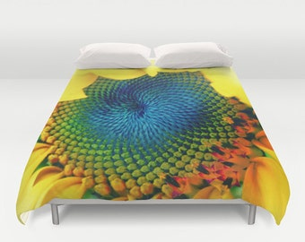 Solar Energy Duvet Cover, Sunny, Sunflower, Yellow, Bright, Happy, Decorative bedding,Unique, Flower Comforter Cover, Bedroom, Cobalt Blue