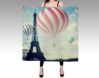 Printed Scarf, Paris Silk Scarf, Hot Air Balloon, Eiffel Tower Scarf, Wearable Art Scarf, Fashion, Silk Shawl, Women, Square Photo Scarf