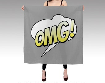 OMG! Text Bubble Habotai Silk Scarf, Grey Scarf, Wearable Art, Fashion, Accessories, Comic Silk Shawl, Women, Teen, Beach, Cover up, Modern