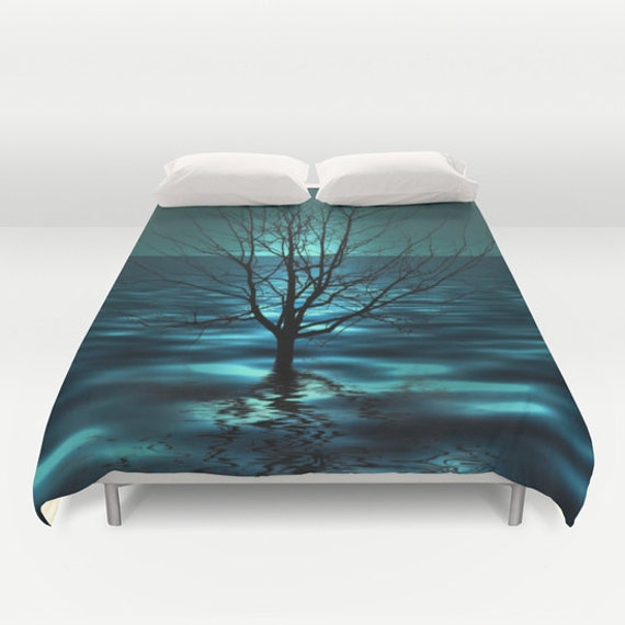 Tree in Ocean Duvet Cover, Waves Decorative bedding, Teal Bedding, Nautical comforter cover, Aqua Blue bedroom, Beach, Surf,Water,Ocean Blue