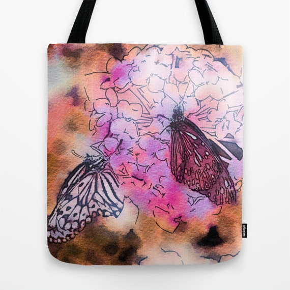 Watercolor Tote Bag, Butterfly Tote, Flower Tote, Whimsy Tote, Beach Tote, Shopping Tote, Shoulder Bag, Market Tote, Spring, Summer, Happy