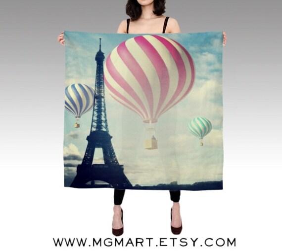 Printed Scarf, Paris Silk Scarf, Hot Air Balloon, Eiffel Tower Scarf, Wearable Art Scarf, Fashion, Silk Shawl, Women, Square Photo Scarf