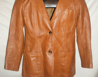 Vintage Men's Brown Leather Coat Jacket by New England Sports Wear