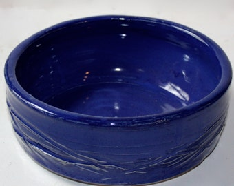 Stoneware Serving or Baking  Dish in Cobalt Blue Good for Two Large Servings or Serving a Vegetable