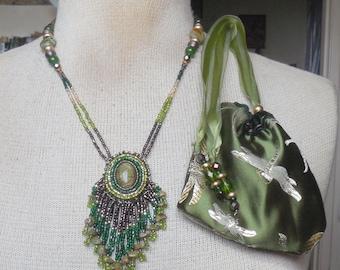 Beaded Unakite Necklace with Beaded Jade Tassels Rain Forest Jasper Unakite Tiger Eye Pearls Semiprecious Stone Gemstone Beads OlyTeam