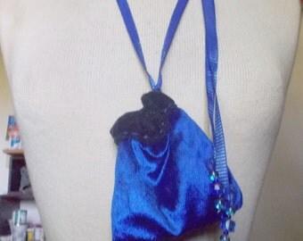 "Reversible Navy Blue Royal Blue Velvet Necklace Pouch Large Size 12 x 10 cm. (4 3/4"" x 4"") OlyTeam"