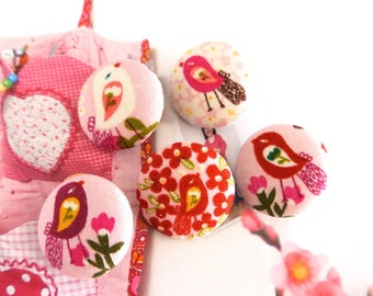 Light Rose Red Bird Floral Flower Fabric Covered Button, Pink Bird Floral Flower Fridge Magnets, Flat Back, 1.1 Inches 5's