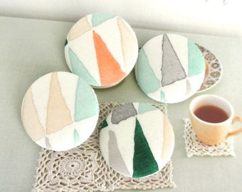 """Big Green Beige Off White Modern Geometric Aztec Triangles Covered Fabric Buttons, Large Geometric Fridge Magnets, 1.25"""" 4's"""