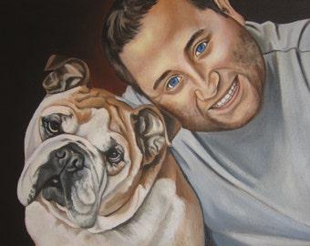 Custom Portrait with Pet Portrait, Custom Dog Portrait, Dog Painting, custom size  11 x 14  (TWO figures), Dog Art, Painting from Photo