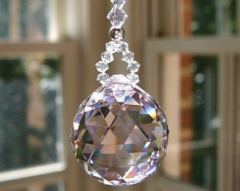 """Pink Crystal Ball, Swarovski Crystal Suncatcher - Comes in 14 Colors, """"LITTLE SIMPLICITY"""" 5.5"""" for Rearview Mirror  or 9.5"""" for Home Window"""