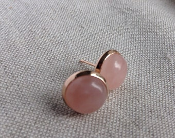 Rose Gold Earrings, Rose Quartz Earrings, Rose Gold Stud Earrings, Bridal Jewelry Rose Quartz Rose gold earrings stud earrings
