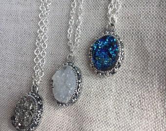 Silver Druzy Necklace, Faux Druzy Necklace, Druzy Pendant, Boho Jewelry, Druzy Necklace