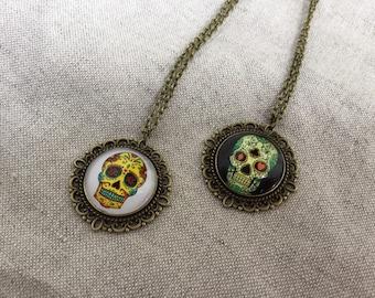 Skull Necklace, Dios De Los Muertos, Sugar Skull Jewelry