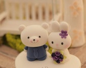 rabbit and bear wedding cake topper---k951