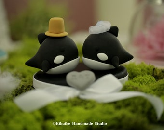 orca  wedding cake topper,whale  Wedding Cake Topper---k628