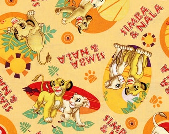 Disney's The Lion King Simba and Nala Fabric By The Yard FBTY