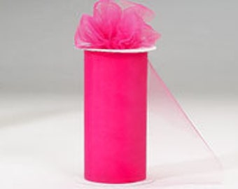 6 inch by 75 ft Nylon Tulle -SHOCKING PINK  (only 2.25 per roll)