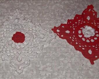 Two Crochet Cotton Doilies, flower center, one white with red flower, one red with white flower