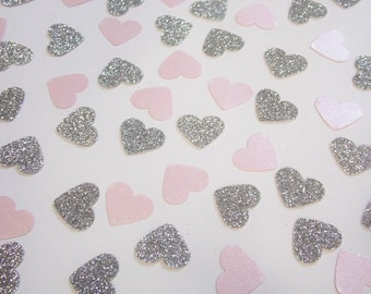 Silver and Pale Pink Heart Confetti, Wedding Reception Decoration, Table Scatter, Glitter Confetti, Bridal Shower Decor