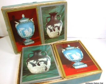 Playing Cards, Double Deck of Cards, Game Cards,Congress, Wedgewood Urns, Vase,  Blue, Two Decks, Cel U Tone Finish, Boxed Set  (531-15)