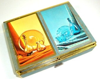 Vintage Double Deck Playing Cards, Boxed Set, Game Cards, Card Game, Art Deco, Blue, Yellow Gold, 2 Full Decks, Seasons Greeting  (544-15)