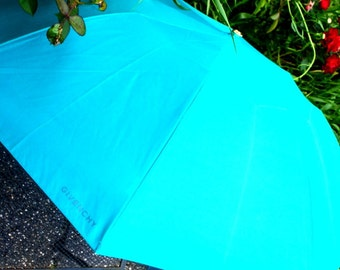 Luxurious vintage 80s   teal nylon umbrella. Made by Givenchy.