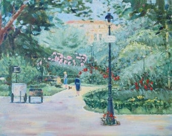 Original Oil Painting * FRENCH PARK * Art by Rodriguez