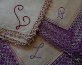 3 Monogrammed Hankies with Outstanding Edgings - Crocheted Lace - Linen