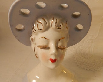1950's Small Blue Hat Lady's Head Vase - Japan -