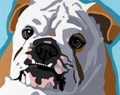 Pop Art Dog Painting Print Bulldog Colorful