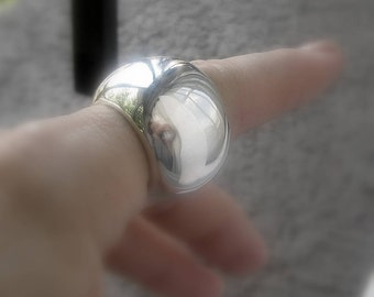 Giant wheel sterling silver ring , ball , round, rondell, 2212jewelry, woman, huge