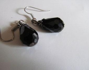 Black glass tear drops