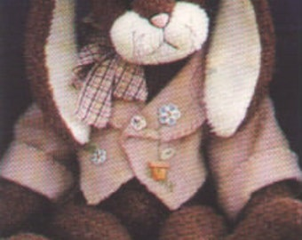 "28"" Big Bunny Pattern with Jacket by Linda Johnson of BEARDEAUX BEARS"