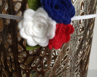 Fourth of July Flower Headband, Red, White & Blue Memorial Day Headband, Patriotic Baby Headband, Skinny Elastic Headband With Felt Flowers